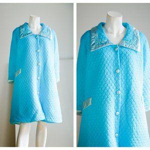 Vintage Bright Blue Quilted Satin Trim Robe